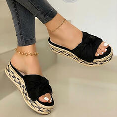 Women's PU Flat Heel Sandals Flats Platform Peep Toe Slippers With Solid Color shoes