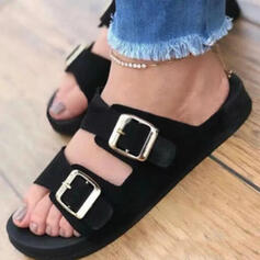 Women's PU Flat Heel Sandals Flats Peep Toe Slippers With Buckle Hollow-out shoes