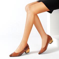 Frauen PU Stöckel Absatz Absatzschuhe Spitze mit Tierdruckmuster Spleißfarbe Farbblock Schuhe