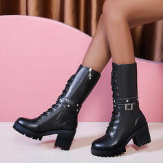 Women's PU Chunky Heel Mid-Calf Boots Round Toe Martin Boots With Zipper Lace-up shoes