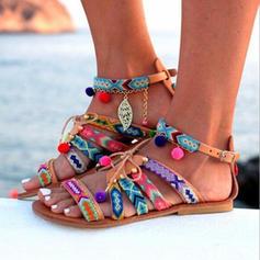 Women's PU Flat Heel Sandals Peep Toe With Chain shoes
