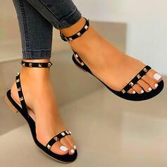 Women's PU Flat Heel Sandals Flats Peep Toe With Rivet shoes