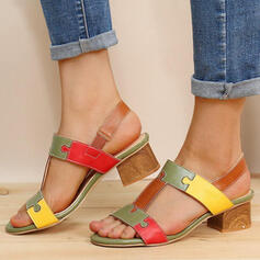 Women's PU Chunky Heel Sandals Peep Toe Heels With Buckle Hollow-out shoes