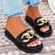 Women's PU Flat Heel Sandals Flats Platform Peep Toe Slippers With Beading Chain Hollow-out shoes