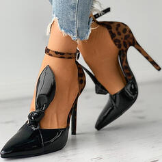 Women's PU Stiletto Heel Pumps Closed Toe With Animal Print shoes