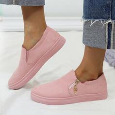 Women's Canvas Flat Heel Flats Round Toe Espadrille With Zipper shoes