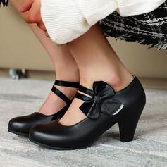 Frauen Kunstleder Stämmiger Absatz Absatzschuhe mit Bowknot Schnalle Schuhe