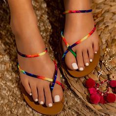 Frauen PU Flascher Absatz Sandalen Peep Toe mit Spleißfarbe Schuhe