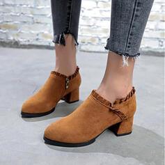 Frauen Veloursleder Stämmiger Absatz Absatzschuhe Stiefelette Round Toe mit Reißverschluss Schuhe