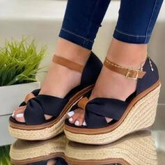 Women's Suede Wedge Heel Pumps Platform Wedges Peep Toe Heels With Hollow-out Splice Color shoes