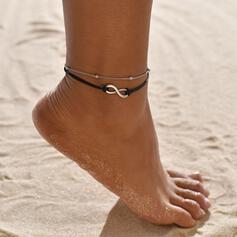 Einfache Unendlichkeit Legierung Lederseil Strandschmuck Fußkettchen (Set von 2)
