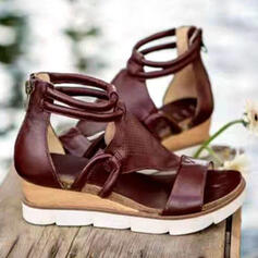 Women's PU Wedge Heel Sandals Platform Wedges Peep Toe Heels With Hollow-out Solid Color shoes