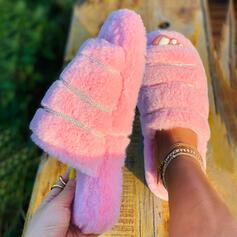 Frauen Samt Flascher Absatz Peep Toe Pantoffel mit Pelz Schuhe