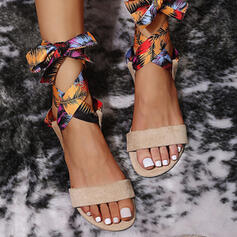 Women's Leatherette Flat Heel Sandals Flats Peep Toe With Satin Flower Floral Print shoes