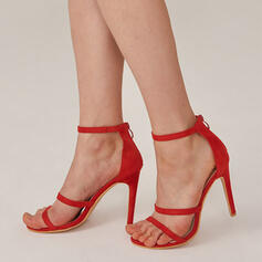 Women's PU Stiletto Heel Sandals Pumps Peep Toe With Zipper Hollow-out Solid Color shoes