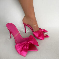 Women's PU Stiletto Heel Sandals Pumps Square Toe With Bowknot shoes