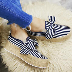 Women's Canvas Flat Heel Flats Low Top Round Toe Loafers Espadrille Slip On With Bowknot Stripe shoes