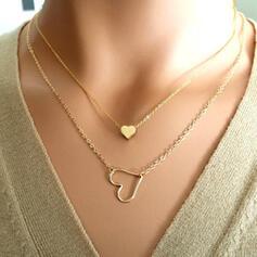 Herz Romantisch Legierung mit Herz Schmuck Sets Halsketten 2 STÜCK