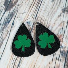 Clover Drop Shape St. Patrick's Day PU Women's Earrings 2 PCS