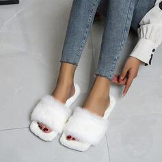 Frauen Samt Flascher Absatz Peep Toe mit Pelz Schuhe