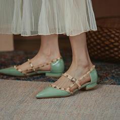 Women's PU Flat Heel Flats With Rivet Hollow-out shoes