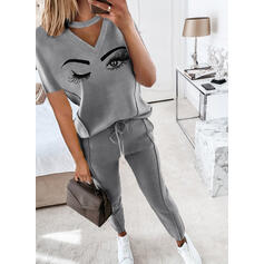 Print Drawstring Casual Sporty Suits