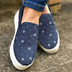 Women's Fabric Flat Heel Flats Round Toe Espadrille Slip On With Lace-up shoes