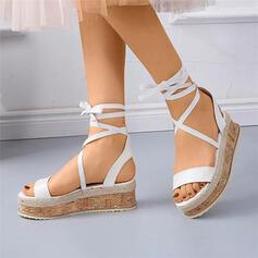Frauen PU Keil Absatz Sandalen Flache Schuhe Peep Toe mit Zuschnüren Hohl-out Schuhe