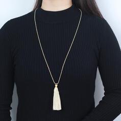 Einfache Boho Legierung Baumwollschnur Perlen mit Quasten Halsketten