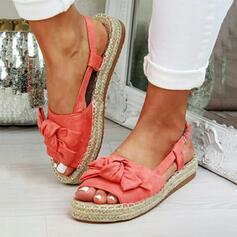 Frauen Veloursleder Flascher Absatz Sandalen Plateauschuh Peep Toe mit Bowknot Schuhe