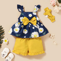 3-pieces Baby Girl Floral Print Cotton Set
