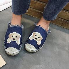 Women's Denim Flat Heel Flats Slide & Mules Espadrille Slip On With Satin Flower shoes