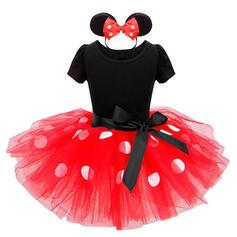 2-pieces Baby Girl Bowknot Polka Dot Lace Set
