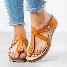 Women's PU Wedge Heel Sandals Wedges Peep Toe Flip-Flops Slippers With Rivet Buckle shoes