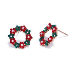 Weihnachten Weihnachtskränze Legierung mit Strasssteine Ohrringe 2 STÜCK