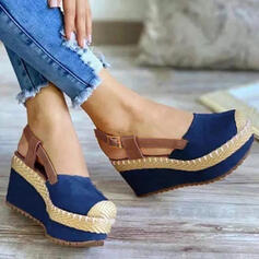 Women's Cloth Wedge Heel Sandals Wedges Peep Toe Heels Round Toe With Buckle Solid Color shoes