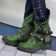 Women's PU Low Heel Boots With Rivet Buckle shoes