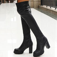 Women's PU Chunky Heel Over The Knee Boots Round Toe With Zipper Solid Color shoes