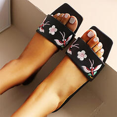 Women's PU Flat Heel Sandals Square Toe With Satin Flower shoes