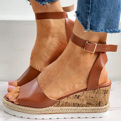Women's PU Chunky Heel Sandals Wedges Peep Toe With Buckle Hollow-out shoes