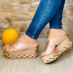 Women's PU Flat Heel Sandals Platform Wedges Peep Toe Slippers Heels With Hollow-out shoes