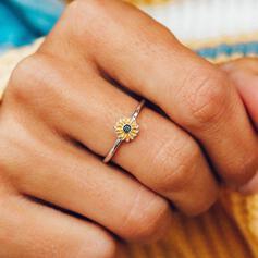 Einfache Sonnenblume Legierung Ringe