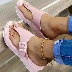 Women's PU Wedge Heel Sandals Platform Wedges Peep Toe Flip-Flops Slippers Heels With Buckle Hollow-out shoes