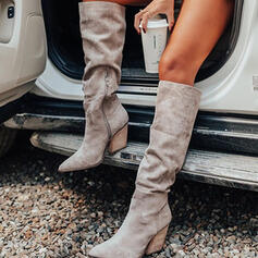 Women's Suede Chunky Heel Knee High Boots Pointed Toe With Ruched Zipper Solid Color shoes