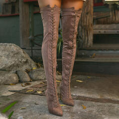 Women's Suede Stiletto Heel Closed Toe Over The Knee Boots Pointed Toe With Lace-up shoes