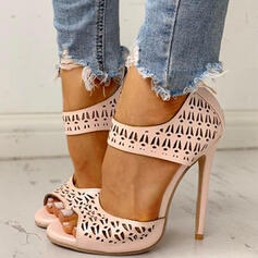 Women's PU Stiletto Heel Pumps Peep Toe With Zipper Hollow-out shoes
