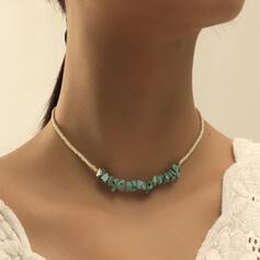 Stilvoll Boho Legierung Türkis Perlen Halsketten