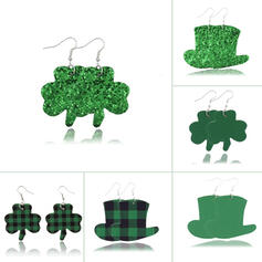 Clover St. Patrick's Day PU Women's Earrings (Set of 6 pairs)