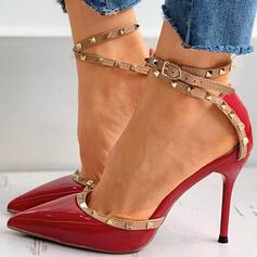 Frauen PU Stöckel Absatz Absatzschuhe Spitze mit Niete Schnalle Schuhe