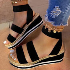 Women's Leatherette Wedge Heel Sandals Platform Wedges Peep Toe Slingbacks With Split Joint shoes